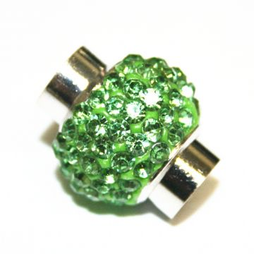 7mm - 17mm x 14mm - Grass green stone pave crystal magnetic clasps - rhodium